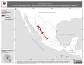 Mapa ilustrativo de Thamnophis errans (Culebra listonada errante). Área de distribución potencial. La proyección citada, es exclusiva para el diseño de esta imagen.