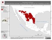 Mapa ilustrativo de Thamnophis marcianus (Culebra listonada manchada). Área de distribución potencial. La proyección citada, es exclusiva para el diseño de esta imagen.