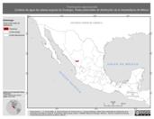 Mapa ilustrativo de Thamnophis nigronuchalis (Culebra de agua de cabeza angosta de Durango). Área de distribución potencial. La proyección citada, es exclusiva para el diseño de esta imagen.