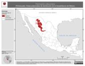Mapa ilustrativo de Thamnophis rufipunctatus (Pichecuate). Área de distribución potencial. La proyección citada, es exclusiva para el diseño de esta imagen.