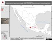 Mapa ilustrativo de Thamnophis scalaris (Culebra listonada de montaña cola larga). Área de distribución potencial. La proyección citada, es exclusiva para el diseño de esta imagen.