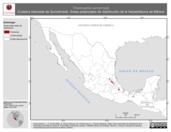 Mapa ilustrativo de Thamnophis sumichrasti (Culebra listonada de Sumichrast). Área de distribución potencial. La proyección citada, es exclusiva para el diseño de esta imagen.
