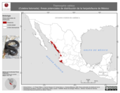 Mapa ilustrativo de Thamnophis validus (Culebra listonada). Área de distribución potencial. La proyección citada, es exclusiva para el diseño de esta imagen.