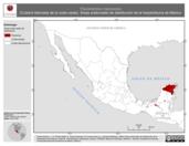 Mapa ilustrativo de Thecadactylus rapicaudus (Culebra listonada de la costa oeste). Área de distribución potencial. La proyección citada, es exclusiva para el diseño de esta imagen.
