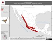 Mapa ilustrativo de Thryothorus felix (chivirín feliz) residencia permanente. Distribución potencial.