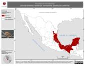 Mapa ilustrativo de Thryothorus maculipectus (chivirín moteado) residencia permanente. Distribución potencial.
