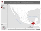 Mapa ilustrativo de Thryothorus modestus (chivirín modesto) residencia permanente. Distribución potencial.