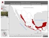 Mapa ilustrativo de Tigrisoma mexicanum (garza-tigre mexicana) residencia permanente. Distribución potencial.
