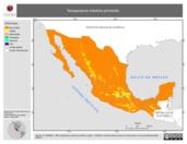 Mapa ilustrativo de Temperatura máxima promedio