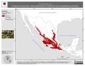 Mapa ilustrativo de Trimorphodon tau (Culebra lira mexicana). Área de distribución potencial. La proyección citada, es exclusiva para el diseño de esta imagen.