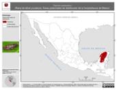 Mapa ilustrativo de Triprion petasatus (Rana de árbol yucateca). Área de distribución potencial. La proyección citada, es exclusiva para el diseño de esta imagen.