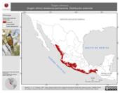 Mapa ilustrativo de Trogon citreolus (trogón citrino) residencia permanente. Distribución potencial.