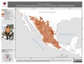 Mapa ilustrativo de Turdus migratorius (mirlo primavera) usando sitios con y sin clima extremo. Distribución Potencial