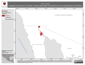 Mapa ilustrativo de Uma notata (Lagartija arenera del Colorado). Área de distribución potencial. La proyección citada, es exclusiva para el diseño de esta imagen.