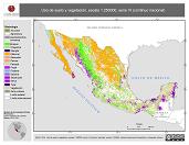 Mapa ilustrativo de Uso del suelo y vegetación, escala 1:250000, serie VI (continuo nacional). La proyección citada, es exclusiva para el diseño de esta imagen.