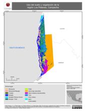 Mapa ilustrativo de Uso del suelo y vegetación de la región Los Petenes, Campeche