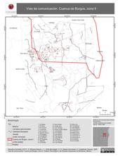 Mapa ilustrativo de Vías de comunicación. Cuenca de Burgos, zona II