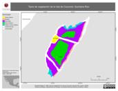 Mapa ilustrativo de Tipos de vegetación de la Isla de Cozumel, Quintana Roo