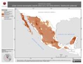Mapa ilustrativo de Vermivora celata (chipe corona anaranjada) usando sitios con y sin clima extremo. Distribución Potencial