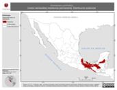 Mapa ilustrativo de Vireolanius pulchellus (vireón esmeralda) residencia permanente. Distribución potencial.