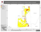 Mapa ilustrativo de Vulnerabilidad a la transformación de la Reserva de la Biosfera Calakmul, Campeche