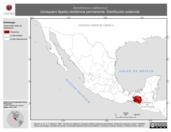 Mapa ilustrativo de Xenotriccus callizonus (mosquero fajado) residencia permanente. Distribución potencial.