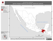 Mapa ilustrativo de Zonotrichia capensis (gorrión chingolo) residencia permanente. Distribución potencial.